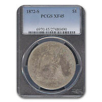 1872 S LIBERTY SEATED DOLLAR XF 45 PCGS   SKU 116319