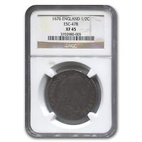 1676 GREAT BRITAIN HALF CROWN CHARLES II XF 45 NGC   SKU 118246