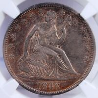 1846 TALL DATE SEATED LIBERTY HALF DOLLAR NGC XF45 WONDERFUL COLOR AND LOOKS AU
