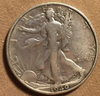1940 S WALKING LIBERTY HALF SILVER VF LOOK AND JUDGE