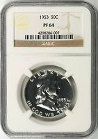 1953 PROOF 50C FRANKLIN HALF DOLLAR NGC PF64