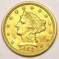 1853 LIBERTY GOLD QUARTER EAGLE $2.50 COIN   NICE DETAIL & LUSTER    COIN