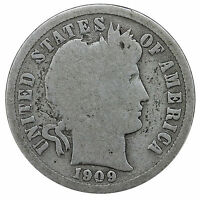 1909 BARBER DIME 90 SILVER GOOD GD
