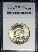 1958 ANACS MS 65 FBL FRANKLIN SILVER HALF DOLLAR NICE TONING NICE OLD HOLDER