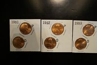 1991,1992,1993 P AND D LINCOLN CENTS