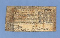 1774 MARYLAND $ 2 COLONIAL CURRENCY STRONG DETAILS & SIGNATURES FINE GRADE