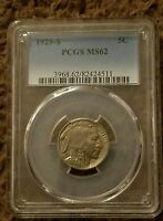 1929 S  BUFFALO NICKEL PCGS MS62 NICE COIN