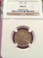1911 LIBERTY NICKEL NGC CERTIFIED MINT STATE 63