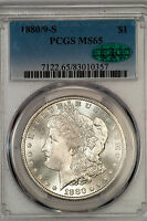 1880/9 S MORGAN DOLLAR PCGS MS65 CAC APPROVED BRILLIANT GEM OVERDATE 34320X