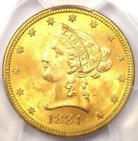1884 LIBERTY GOLD EAGLE $10 COIN - PCGS MINT STATE 63 -  IN MINT STATE 63 - $4,250 VALUE