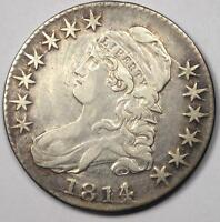 1814/3 CAPPED BUST HALF DOLLAR 50C   SHARP DETAILS    OVERDATE COIN