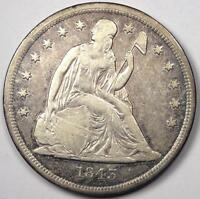 1843 SEATED LIBERTY SILVER DOLLAR $1   SHARP DETAILS    EARLY TYPE COIN