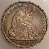 1871 SEATED LIBERTY HALF DOLLAR CHOICE ALMOST UNCIRCULATED GREAT COLOR