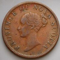 1843 NS 1F1   NOVA SCOTIA CANADA COLONIAL CANADIAN 1/2  PENNY THISTLE TOKEN