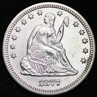 1877 SEATED LIBERTY QUARTER CHOICE AU  E244 ALM