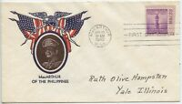 1942 FDC, 3CENTS DEFENSE,MACARTHUR,  PATRIOTIC COVER, PLATE NUMBERED SINGLE