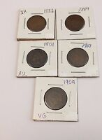 LOT OF 5 INDIAN HEAD CENTS    1882 1889 ,1901 1907 1909