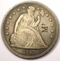 1843 SEATED LIBERTY SILVER DOLLAR $1   XF DETAILS    DATE    COIN