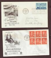 U.S., FIRST DAY COVERS, BENJAMIN FRANKLIN & GREAT LAKES TRANSPORTATION, 1955 OLD