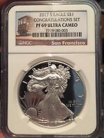 IN HAND 2017 S CONGRATULATIONS PF 69 UC SILVER EAGLE NGC TROLLEY LABEL IN HAND
