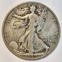 1939 D WALKING LIBERTY HALF DOLLAR 50 CENTS US COIN F VF S22