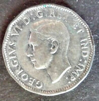 1945 CANADA V FIVE CENTS COIN KING GEORGE VI BUST