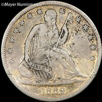 1869 SEATED LIBERTY SILVER HALF DOLLAR 6325.33405 XF EF LY FINE CLEANED