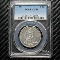 1844 SEATED LIBERTY HALF DOLLAR PCGS AU53   ATTRACTIVE