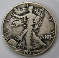 1943 D WALKING LIBERTY SILVER HALF DOLLAR VF  TONE AND DETAILS 57