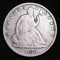 1876 SEATED LIBERTY HALF DOLLAR CHOICE FINE  E344 CL