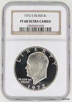 1972 S PROOF EISENHOWER SILVER DOLLAR $1 IKE NGC PF68 ULTRA CAMEO