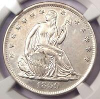 1859 S SEATED LIBERTY HALF DOLLAR 50C   CERTIFIED NGC AU DETAILS    COIN