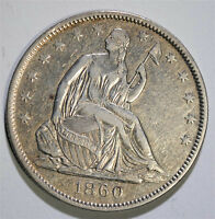 1860 O SEATED LIBERTY HALF DOLLAR NICE XF/AU