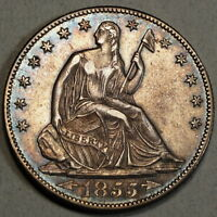 1855 O ARROWS SEATED LIBERTY HALF DOLLAR ALMOST UNCIRCULATED NICE COIN 0828 13