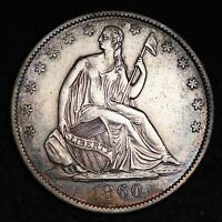 1860 O SEATED LIBERTY HALF DOLLAR CHOICE AU  E190 CEM