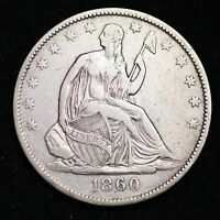 1860 O SEATED LIBERTY HALF DOLLAR CHOICE XF  E282 CTX