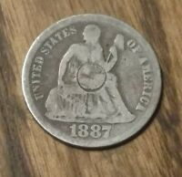 OLD US TYPE COINS  1887 SILVER SEATED LIBERTY DIME