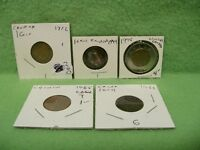 LOT OF 5 CANADA COINS   ONE CENT 1933 1965 1972 1994 & 2 DOLLAR 1996