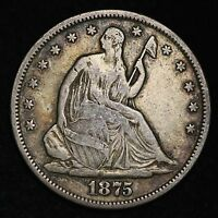 1875 S SEATED LIBERTY HALF DOLLAR CHOICE VF  E216 TFT