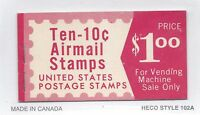 UNITED STATES, SCOTT  BKC21,UNEXPLODED BOOKLET OF 10 10 CENT STAMPS