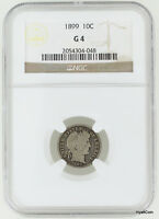 1899 BARBER SILVER DIME 10C NGC G4 G04
