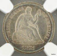 1872-S ABOVE BOW SEATED LIBERTY SILVER HALF DIME H10C NGC AU DETAILS
