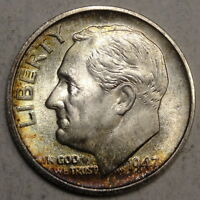 1947 S ROOSEVELT DIME GEM UNCIRCULATED NICE TONING  1112 09