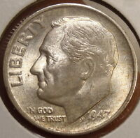 1947 S ROOSEVELT DIME GEM UNCIRCULATED LIGHT ORIGINAL TONING   0311 12