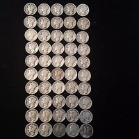 LOT OF 50 MERCURY DIMES 1931 TO 1939 $5.00 FACE 90 SILVER
