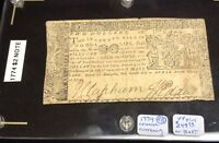 1774 ANNAPOLIS MARYLAND COLONIAL $2 NOTE DATED APRIL 10 1774