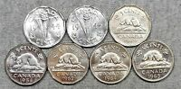 LOT OF 7 NICE CANADA 5 CENTS COINS   1944 1945 1949 1954 1962 1964 & 1965