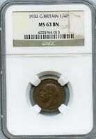 AMAZING 1932 NGC MS63 BN GREAT BRITAIN 1/4P NC974