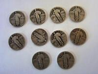 LOT OF 10 STANDING LIBERTY QUARTERS    1927 1928 1929 ,& 1930