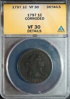 1797 1C LARGE CENT REV OF '97 STEMS DRAPED BUST CENT VF30